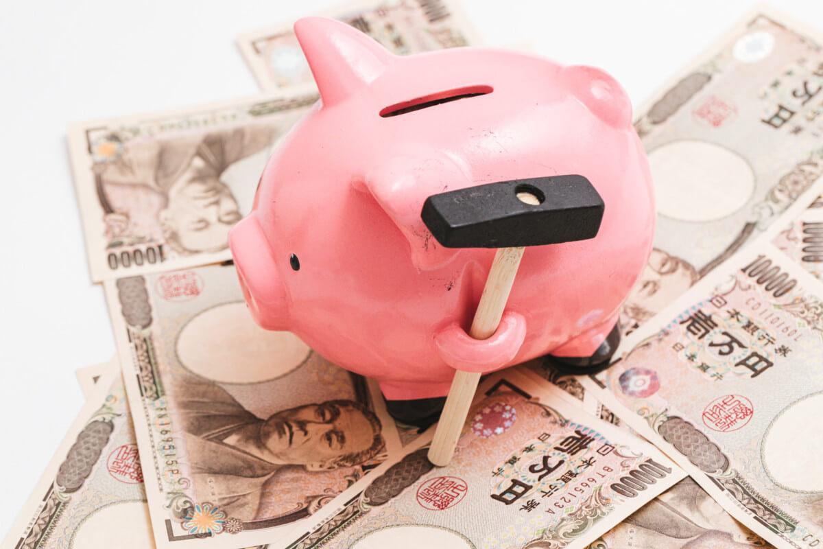 火災保険で稼げたお金を貯めた豚の貯金箱